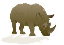 Rhino. Illustration depicting a rhinoceros on a white background Royalty Free Stock Image