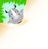 Rhino. In the jungle with paper  of illustration Stock Photo