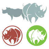 Rhino. Vector illustration of rhino in various color stock illustration