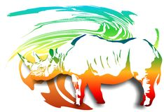 Rhino on an abstract background. (Vector) Stock Photos