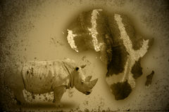 Rhino and Africa Stock Image