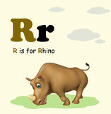Rhino with alphabet Royalty Free Stock Photography