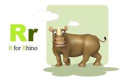 Rhino with alphabet Stock Photo