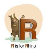 Rhino with alphabet Royalty Free Stock Photos