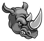 Rhino Angry Sports Mascot. A rhino or rhinoceros mean angry animal sports mascot cartoon head Stock Photography