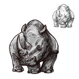 Rhino animal isolated sketch of african rhinoceros stock illustration