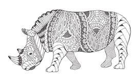 Rhino animal zentangle stylized. Rhinoceros vector, illustration Royalty Free Stock Images