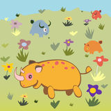 Rhino and animals on land. Happy and cute rhino and other animals in the wild land with flowers Stock Image