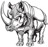 Rhino in the armor. Rhino or rhinoceros in the armor , black and white tattoo image stock illustration