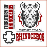 Rhino athletic design complete with rhinoceros mascot vector illustration Stock Images