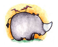 Rhino Baby. A baby rhio ventures out on the savanna royalty free illustration