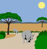 Rhino and calf. Illustration of a mother and baby rhino walking in an african scenery Royalty Free Stock Photography