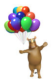 Rhino cartoon character with baloon. 3d rendered illustration of Rhino cartoon character with baloon Stock Image