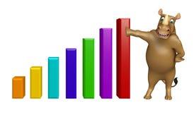 Rhino cartoon character with graf Stock Photography