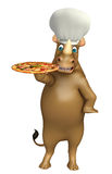 Rhino cartoon character with pizza  and chef hat Royalty Free Stock Images