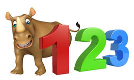 Rhino cartoon character with 123 sign. 3d rendered illustration of Rhino cartoon character with 123 sign stock illustration