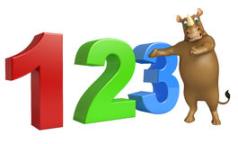 Rhino cartoon character with 123 sign. 3d rendered illustration of Rhino cartoon character with 123 sign royalty free illustration