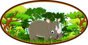 Rhino cartoon with forest background Stock Images