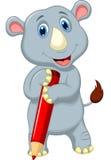 Rhino cartoon holding pencil Stock Images