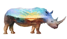 Rhino double exposure illustration. The rhino on white background double exposure illustration. Retro design graphic element. This is illustration ideal for a Stock Images