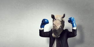 Rhino dressed in business suit . Mixed media royalty free stock photo