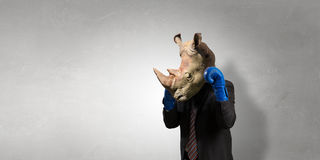 Rhino dressed in business suit . Mixed media stock images