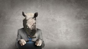 Rhino dressed in business suit . Mixed media Stock Image