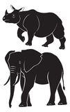 Rhino elephant. The figure depict animals elephant and rhino Stock Photography