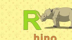 rhino Englisches ZOO Alphabet - Buchstabe R stock abbildung