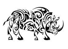Rhino ethnic tattoo Stock Image
