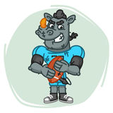 Rhino Football Player Angry Holds Ball Stock Photo