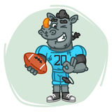 Rhino Football Player Holds Ball and Shows Ok Royalty Free Stock Photography