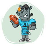 Rhino Football Player Holds Ball Shows Thumbs Up and Winks Royalty Free Stock Photo