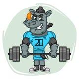 Rhino Football Player Holds Barbell Stock Photos