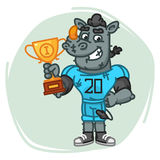 Rhino Football Player Holds Cup Stock Image