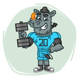 Rhino Football Player Holds Dumbbell Stock Photography