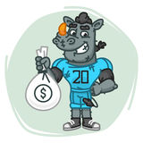 Rhino Football Player Holds Money Bag Stock Photography