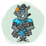 Rhino Football Player Holds Two Dumbbells Royalty Free Stock Images