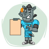 Rhino Football Player Indicates on Blank Sheet Paper Stock Photography