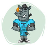 Rhino Football Player Shows Finger Up and Winks Stock Photography
