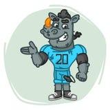 Rhino Football Player Shows Stock Photography