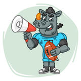 Rhino Football Player Speaks Into Megaphone and Holds Ball Royalty Free Stock Photography