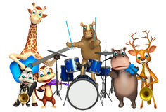Rhino,Giraffe,Hippo,Dear,Skunk and Monkey collection with props. 3d rendered illustration of Rhino,Giraffe,Hippo,Dear,Skunk and Monkey collection with props Royalty Free Stock Photo