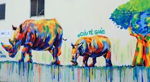 Rhino by graffiti art, Rhinoceros painting Royalty Free Stock Photography