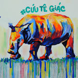 Rhino by graffiti art, Rhinoceros painting. HO CHI MINH CITY, VIET NAM- MARCH 23, 2017: Propaganda campaign to Vietnamese don`t use Rhino horn by graffiti art Royalty Free Stock Image