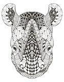 Rhino head zentangle stylized, vector illustration, freehand pen Stock Photo