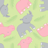 Rhino and hippo pattern Royalty Free Stock Photo