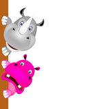 Rhino and hippoo smile Royalty Free Stock Image