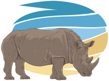 Rhino Illustration Royalty Free Stock Photo