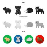 Rhino, koala, panther, hedgehog.Animal set collection icons in black, flat, monochrome style vector symbol stock. Illustration stock illustration